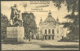 ALTE ANSICHTSKARTEN 1909, ILA Frankfurt A. M., Ausstellungs-Sonderkarte Zeppelin Und Ballon über Bismarkdenkmal Und Scha - Aviation