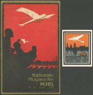 ALTE ANSICHTSKARTEN 1911, Flugwoche Kiel, Farbige Ansichtskarte Sowie Ereignis-Vignette, Pracht - Aviation