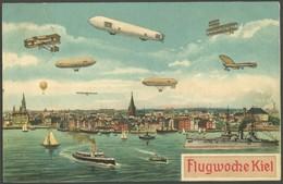 ALTE ANSICHTSKARTEN 1911, Flugwoche Kiel 17.-24.6., Farbige Sonderkarte Mit 8 Verschiedenen Flugpobjekten, Gebraucht, Pr - Aviation