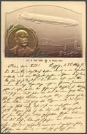 ALTE ANSICHTSKARTEN 1917, Luftschiff Und Portrait Zeppelin, Gold-Prägedruck Lebenskarte, Gebraucht, Pracht - Aviation
