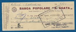 """Assegno Bancario Emesso L' 8/09/1951 Dalla BANCA POPOLARE """"S. AGATA"""" Di Catania - In Buone Condizioni. - Chèques & Chèques De Voyage"""