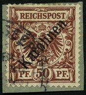 KAROLINEN 6I BrfStk, 1899, 50 Pf. Diagonaler Aufdruck Auf Briefstück Mit Seepoststempelfragment Neuguina Zweiglinie (Hon - Kolonie: Karolinen
