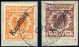 KAROLINEN 5a,6II BrfStk, 1900, 25 Und 50 Pf. Steiler Aufdruck, 2 Prachtbriefstücke, Mi. 140.- - Kolonie: Karolinen