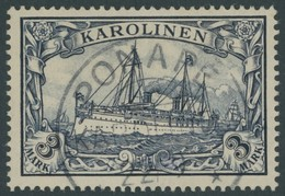 KAROLINEN 18 O, 1900, 3 M. Violettschwarz, Pracht, Signiert, Mi. 170.- - Kolonie: Karolinen
