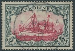 KAROLINEN 19 O, 1900, 5 M. Grünschwarz/dunkelkarmin, Ohne Wz., Stempel YAP, Pracht, Mi. 600.- - Kolonie: Karolinen