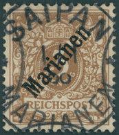 MARIANEN 1I O, 1899, 3 Pf. Diagonaler Aufdruck, Stempel Sorte II, Pracht, Fotoattest Steuer, Mi. 1000.- - Colony: Mariana Islands