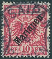 MARIANEN 3I O, 1899, 10 Pf. Diagonaler Aufdruck, Stempel Sorte II, Pracht, Signiert, Mi. 100.- - Colony: Mariana Islands
