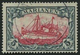 MARIANEN 19 O, 1901, 5 M. Grünschwarz/dunkelkarmin, Ohne Wz., Pracht, Fotoattest Steuer, Mi. 600.- - Colony: Mariana Islands