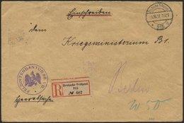DT. FP IM BALTIKUM 1914/18 DEUTSCHE FELDPOST 915 * A, 1.10.17, Auf Heeressache, Einschreiben An Das Kriegsministerium B1 - Latvia