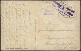 DT. FP IM BALTIKUM 1914/18 K.D. FELDPOSTSTATION NR. 280 **, 15.1.17, Auf Farbiger Ansichtskarte (Libau-Anlagen) In Das O - Latvia
