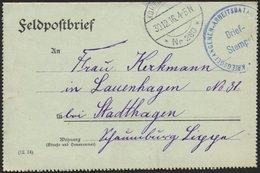 LETTLAND 2213I BRIEF, K.D. FELDPOSTSTATION NR. 280 **, Type I, 30.12.16, Auf Feldpostfalt-Brief Von Wainoden Nach Stadth - Latvia