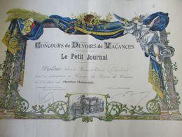 Diplôme Scolaire / Concours De Devoirs De Vacances/Organisé Par Le PETIT JOURNAL/Marcel CRIQUEBEUF/Vers 1907   DIP236 - Diploma & School Reports