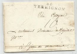 MARQUE MONT BLANC 84 TERMIGNON AN 4 LETTRE POUR ST JEAN MAURIENNE SAVOIE TAXE 10 BELLE FRAPPE RARE - 1792-1815: Départements Conquis