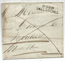 MARQUE LEMAN P 99 P SALLANCHES LETTRE POUR MOUTIERS SANS DATE COTE 500€ - 1792-1815: Départements Conquis