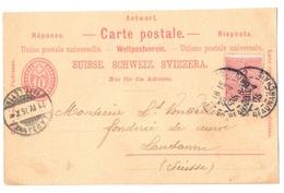 Suisse - 1905 - Carte Postale Réponse/Antwort - Avec Affranchissement Mixte Suisse/France - Postwaardestukken