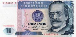 PERU 10 INTIS 1986 P-128a2  UNC - Peru