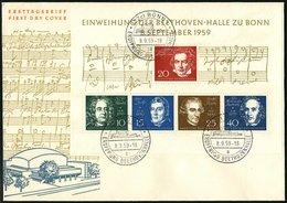 BUNDESREPUBLIK Bl, 2 BRIEF, 1959, Block Beethoven Auf FDC, Pracht, Mi. 140.- - [7] Federal Republic