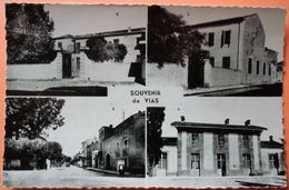 CARTE - VIAS - 34 - ECOLE GARCONS, ECOLE FILLES, AVENUE AGDE, GARE - SCANS RECTO VERSO - Autres Communes