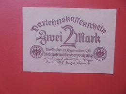 Darlehenskassenschein 2 MARK 1922 CIRCULER (B.15) - [ 3] 1918-1933 : República De Weimar