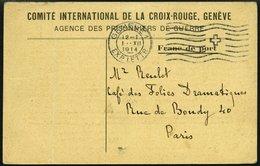 FRANKREICH FELDPOST 1914, Antwortkarte Des Internationalen Roten Kreuzes In Genf An Die Angehörigen Eines Kriegsgefangen - Commemorative Labels