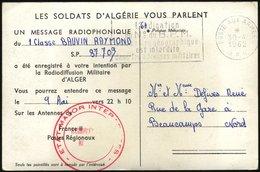 FRANKREICH FELDPOST 1962, Seltene Feldpost-Radiokarte, In Der Mitgeteilt Wird, Daß Die Grüße Am 9. Mai 1961 Gegen 22.10  - Guerra De Argelia