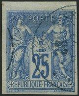 F.KOL ALLGEMEINE AUSGABEN 31b O, 1879, 25 C. Blau Auf Bläulich, Bugspur Sonst Pracht, Mi. 160.- - France (former Colonies & Protectorates)