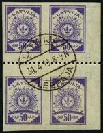LETTLAND 22y VB O, 1919, 50 K. Violett, Senkrecht Geripptes Papier, Im Viererblock Mit Waagerechter Zähnung L 9 3/4, Pra - Latvia