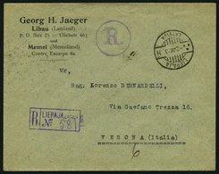 LETTLAND 93 BRIEF, 1923, 10 S. Karmin, 4x Als Mehrfachfrankatur Rückseitig Auf Einschreibbrief Von LIEPAJA Nach Italien, - Latvia