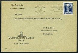 LETTLAND 236 BRIEF, 1934, 35 S. Neue Verfassung Lettlands Mit Maschinenstempel ABONEJIET TELEFONU Auf Brief Des Schweize - Latvia