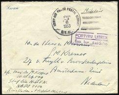 NIEDERLANDE 1953, US-Feldpoststempel ARMY AIR FORCE POSTAL SERVICE/A.P.O. Auf Feldpostbrief Aus Korea In Die Niederlande - Period 1949-1980 (Juliana)