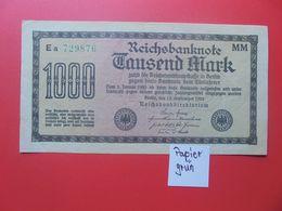 Reichsbanknote 1000 MARK 1922 VARIANTE CIRCULER (B.15) - [ 3] 1918-1933 : Repubblica  Di Weimar