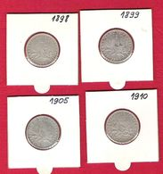 FRANCE Monnaies  Pièce 1 Franc Semeuse Argent Lot De 4 Pièces 1898 1890 1905 1910 - Francia