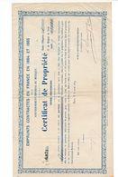 Certificat De Propriété Emprunts Contractés En France Par Le Gouvernement Impérial Du Mexique 1864 Et 1865 - Actions & Titres