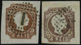 PORTUGAL 9b,c O, 1856, 5 R. Gelbbraun Und Schwarzbraun, 2 Breitrandige Prachtwerte, Gepr. Drahn, Mi. 320.- - Variétés Et Curiosités