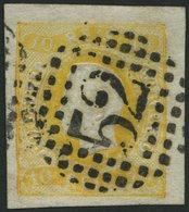 PORTUGAL 18 O, 1866, 10 R. Gelb, Nummernstempel 52, Breitrandig, Kabinett, Gepr. Drahn, Mi. (200.-) - Variétés Et Curiosités