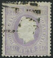 PORTUGAL 44B O, 1873, 240 R. Lila, Gezähnt 121/2, üblich Gezähnt Pracht, Mi. 1500.- - Variétés Et Curiosités