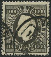 PORTUGAL 61C O, 1884, 1000 R. Schwarz, Gezähnt 131/2, Pracht, Mi. 140.- - Variétés Et Curiosités
