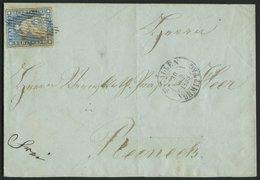 SCHWEIZ BUNDESPOST 14IIAym BRIEF, 1855, 10 Rp. Blau, Berner Druck I, (Zst. 23Ba), Vollrandig Auf Brief Von St. Gallen Na - 1854-1862 Helvetia (Non-dentelés)