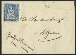 SCHWEIZ BUNDESPOST 14IIByo BRIEF, 1859, 10 Rp. Lebhaftblau, Dunkelroter Seidenfaden, Berner Druck II, (Zst. 23Cc), Oberr - 1854-1862 Helvetia (Non-dentelés)