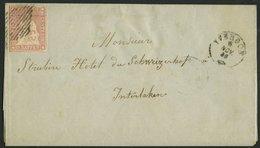 SCHWEIZ BUNDESPOST 15IIAym BRIEF, 1856, 15 Rp. Rosa, Berner Druck I, (Zst. 24Ba), Links Leicht Berührt Auf Briefhülle Vo - 1854-1862 Helvetia (Non-dentelés)
