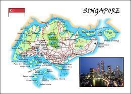 Singapore Country Map New Postcard Singapur Landkarte AK - Singapur