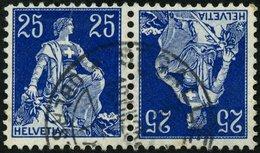 ZUSAMMENDRUCKE K 3 O, 1909, Helvetia Kehrdruck 25 + 25, Pracht, Mi. 160.- - Se-Tenant