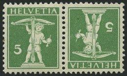 ZUSAMMENDRUCKE K 5II *, 1909, Tellknabe Kehrdruck 5 + 5, Type II, Falzrest, Pracht, Mi. 300.- - Se-Tenant