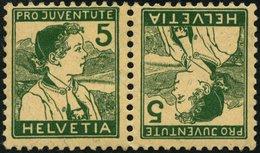 ZUSAMMENDRUCKE K 9 **, 1915, Pro Juventute Kehrdruck 5 + 5, Feinst, Mi. 150.- - Se-Tenant