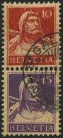 ZUSAMMENDRUCKE S 3 O, 1918, Tellbrustbild 10 + 15, Minimal Geschürft Sonst Pracht, Mi. 550.- - Se-Tenant