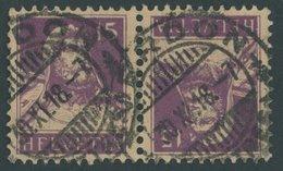 ZUSAMMENDRUCKE K 12 O, 1918, Tellbrustbild Kehrdruck 15 + 15, Feinst (kleine Knitterspur), Mi. 200.- - Se-Tenant