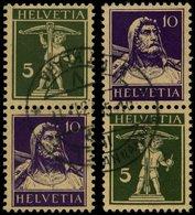 ZUSAMMENDRUCKE S 21x,23x O, 1930, Tellknabe/Tellbrustbild 5 + 10 Und 10 + 5, Glatter Gummi, 2 Prachtwerte, Mi. 100.- - Se-Tenant