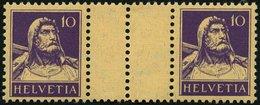 ZUSAMMENDRUCKE WZ 30zC *, 1930, Tellbrustbild 10 + Z + 10, Geriffelter Gummi, Zwischensteg Senkrecht Gezähnt, Linke Mark - Se-Tenant