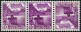 ZUSAMMENDRUCKE K 33zIDPII **, 1937, Landschaften Kehrdruck 10 + 10, Geriffelter Gummi, Type I, Doppelprägung Im Gesamten - Se-Tenant