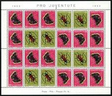 ZUSAMMENDRUCKE MHB 42 **, 1953, Markenheftchenbogen Pro Juventute, Pacht, Mi. 400.- - Se-Tenant